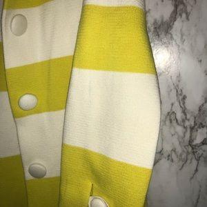 J. Crew Sweaters - J crew yellow and white stripe sweater cardigan